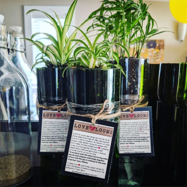 teacher's pet giving back - love heart looms products plants with labels